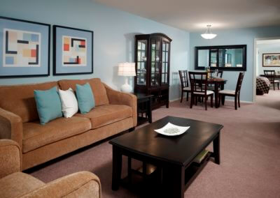Furnished apartment living room at Korman Residential at Cherrywood