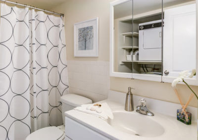 Bathroom in our one bedroom apartment floor plan layout